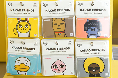 卡片型(卡通形象等设计) 价格:3,000~4,000韩元 购买场所:T-money卡加盟便利店、品牌实体店